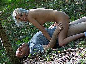 Dirk has his own methods for hunting new girls. He simply waits for them in a dark corner of the forest and today he is lucky again when the blonde Ta