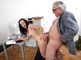 This dirty old teacher is in an amazing position of power over his student as she asks for a second chance on her test. He'll get to fuck her bef