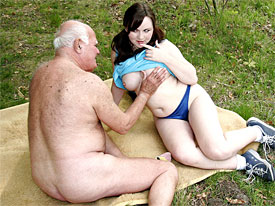 Grandpa has got a new girlfriend, a lovely looking teenage girl. They go for a walk and park themselves on a blanket in the grass where the old man sh