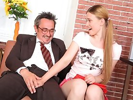 Augustina sucks her teachers cock and he explodes with cum all over her sexy young student face. She knows she will get a better grade now and he will