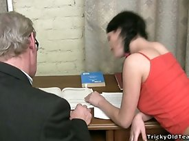 Teen student gets seduced by her old teacher and gets a heavy load of ass drilling
