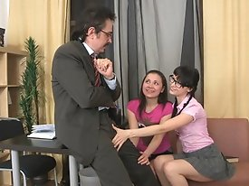 What a bad girls, they came right to the teacher's office and started touching him. Poor man couldn't miss a chance to have fun with such a