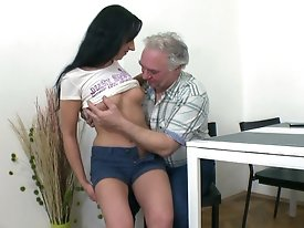 When Ami's boyfriend comes in to find her getting fucked by this old guy, he actually ends up getting his dick out to join them.  There's no