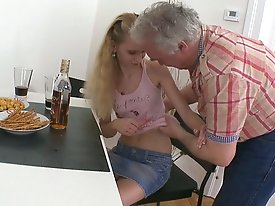 This dirty older dude loves to stick his cock in Rosy, and it's especially exciting for him because he knows her boyfriend might walk in on them