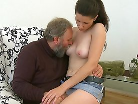 Good old guy with a bushy grey beard gets it on with the lovely Simona, and she fucking loves it. She simply can't get enough of his little old c