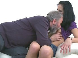 When Tracy is left alone with the old guy it doesn't take him long to talk his way into her knickers and get his cock out for a little action